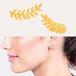 GORJANA 希臘月桂葉 圓弧造型 貼合耳廓耳環Olympia Ear Climbers