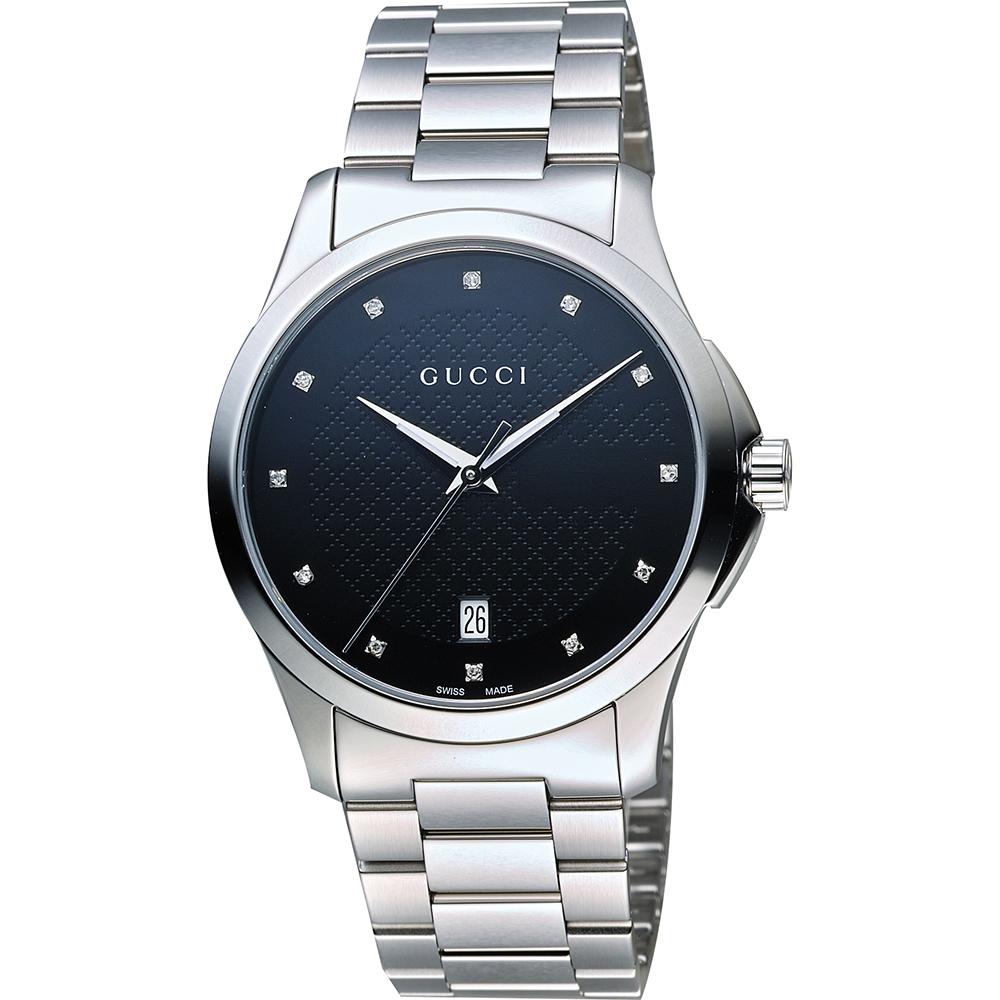 GUCCI G-Timeless 菱格紋真鑽腕錶-黑x銀/38mm