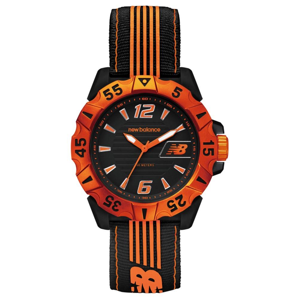 New Balance 504系列 運動休閒尼龍帆布帶腕錶-橘黑/45mm @ Y!購物