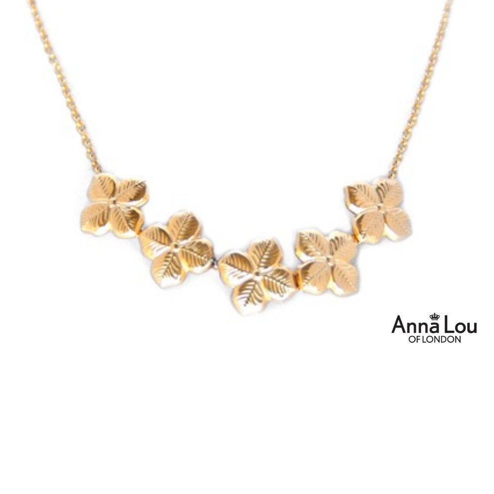 Anna Lou OF LONDON 倫敦品牌 優雅風信子hyacinth花朵金項鍊