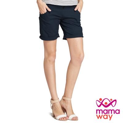 孕婦褲 短褲 孕期竹節涼爽反摺五分褲(共三色) Mamaway