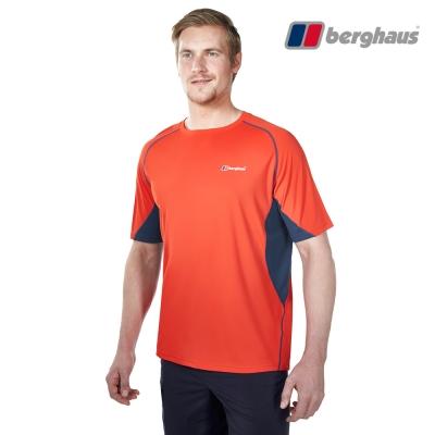 【Berghaus貝豪斯】男款銀離子除臭抗菌吸濕快乾短袖上衣S04M04火山紅