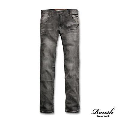 Roush-皺摺刷色黑色單寧褲