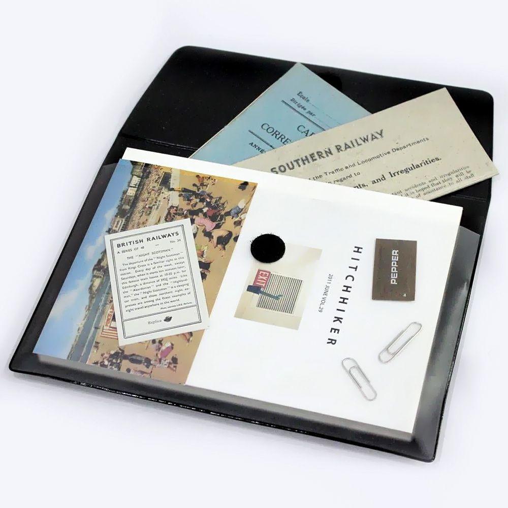 Seeso 極簡辦公皮紋文件收納袋(A5)-簡約黑