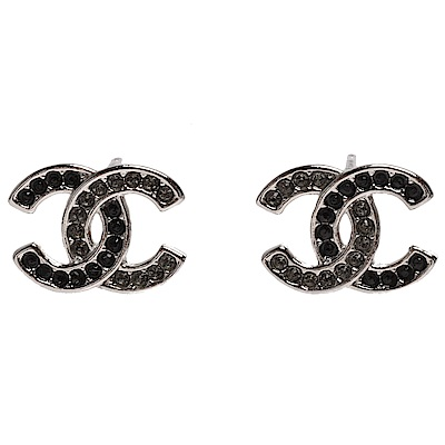 CHANEL 經典雙C LOGO黑白圓形水鑽鑲嵌框邊穿式耳環(黑X銀)