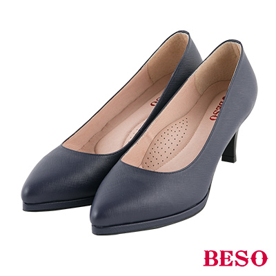 BESO 簡約知性 素面尖頭全真皮跟鞋~黑