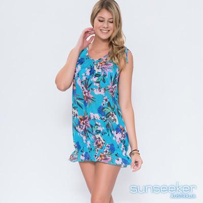澳洲Sunseeker泳裝網眼點點花朵網紗背心裙罩衫