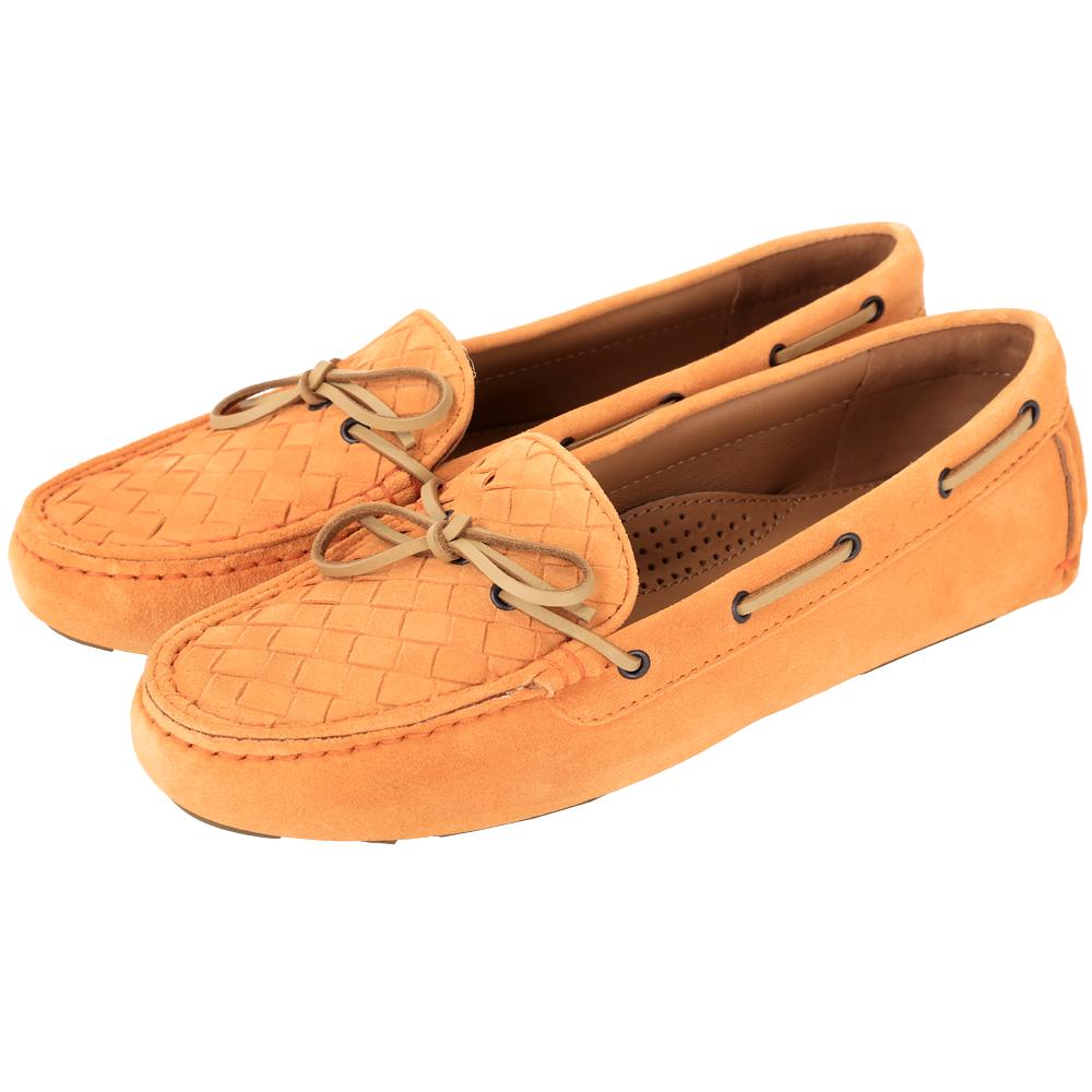 BOTTEGA VENETA 麂皮編織綁帶莫卡辛鞋(桔黃色)