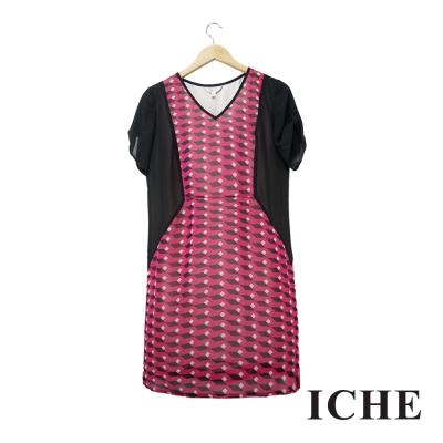 Chaber巧帛 幾何印花拼接修身桃紅洋裝