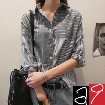 正韓-氣質灰衡縱條紋棉襯衫-灰色-a9
