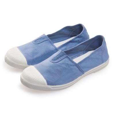 (女)Natural World 西班牙休閒鞋 素色鬆緊基本款*藍色