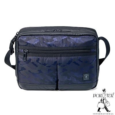 PORTER-迷彩型格HUNTER中型休閒斜背包-藍