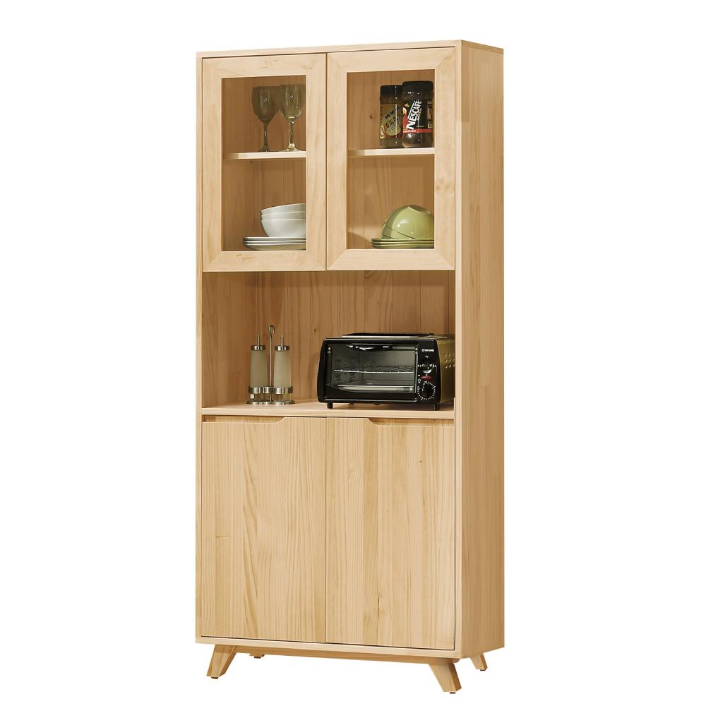 品家居蘇維亞2.7尺實木餐櫃組合-80x36x183cm免組