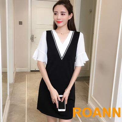 小清新假兩件雙V領荷葉袖洋裝 (黑色)-ROANN