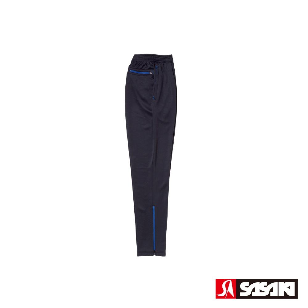 SASAKI 吸濕排汗功能伸縮針織運動長褲(窄褲口)-男-黑/寶藍