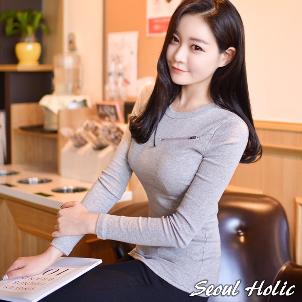 胸前小拉鍊造型合身上衣(共二色)-Seoul Holic