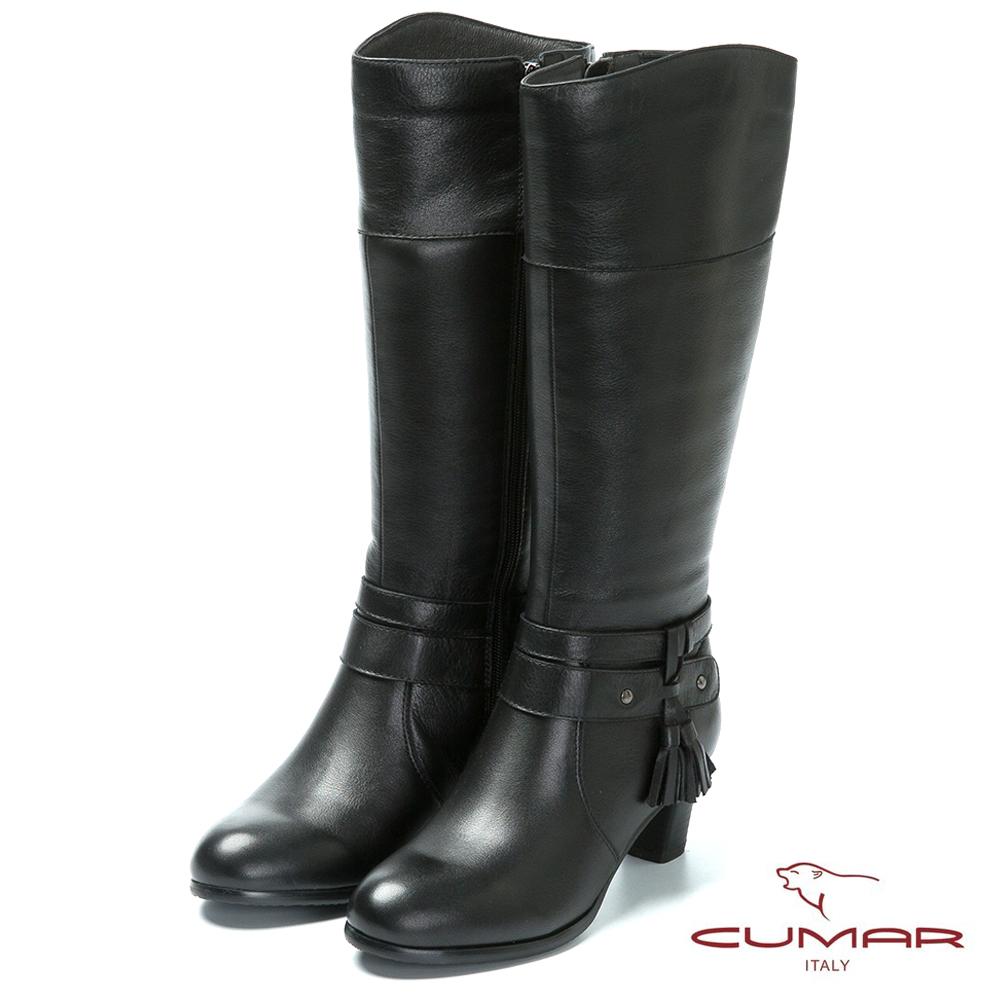 CUMAR時尚品味流蘇設計真皮高跟長靴-黑