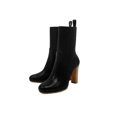 GUCCI 黑色真皮時尚高跟短靴-38/39.5號