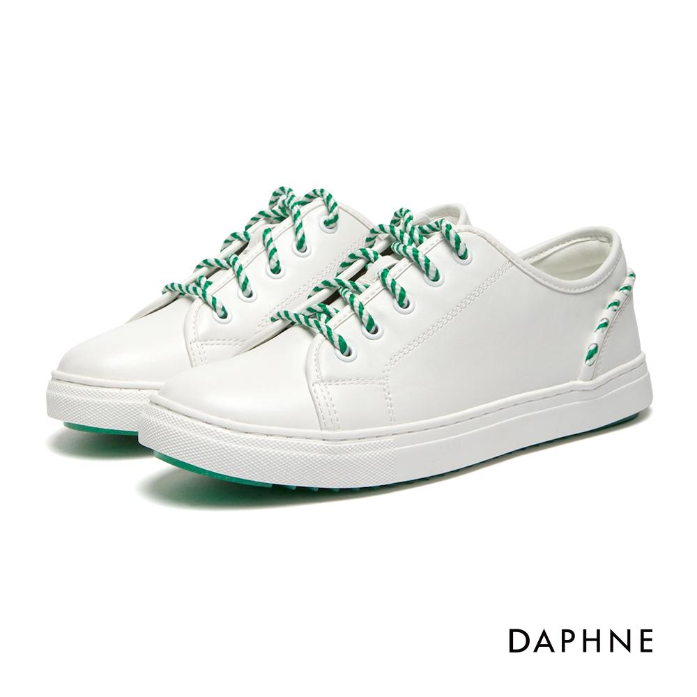 達芙妮DAPHNE 休閒鞋-編織繫帶拼接素色休閒鞋-白