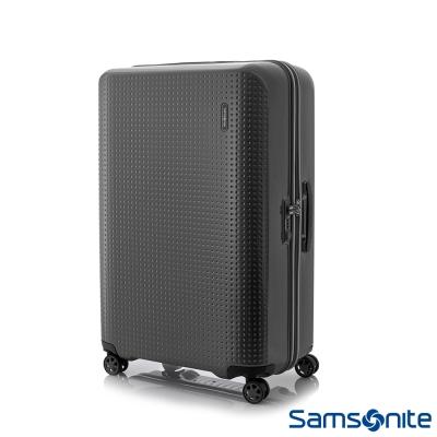 Samsonite-新秀麗28吋PIXELON優雅圓弧立體圓點硬殼拉鍊登機箱-防刮消光黑