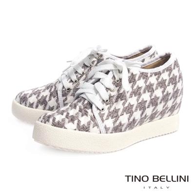 Tino-Bellini-千鳥紋幾何造型內增高綁帶