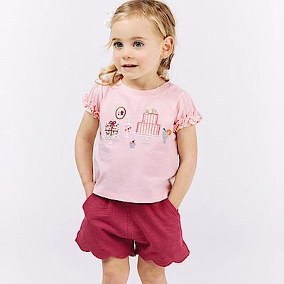Dave Bella 粉色泡泡袖上衣+桃紅短褲套裝2件組