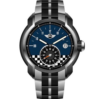 MINI Swiss Watches  賽車旗幟腕錶-黑藍色鋼帶款/45mm