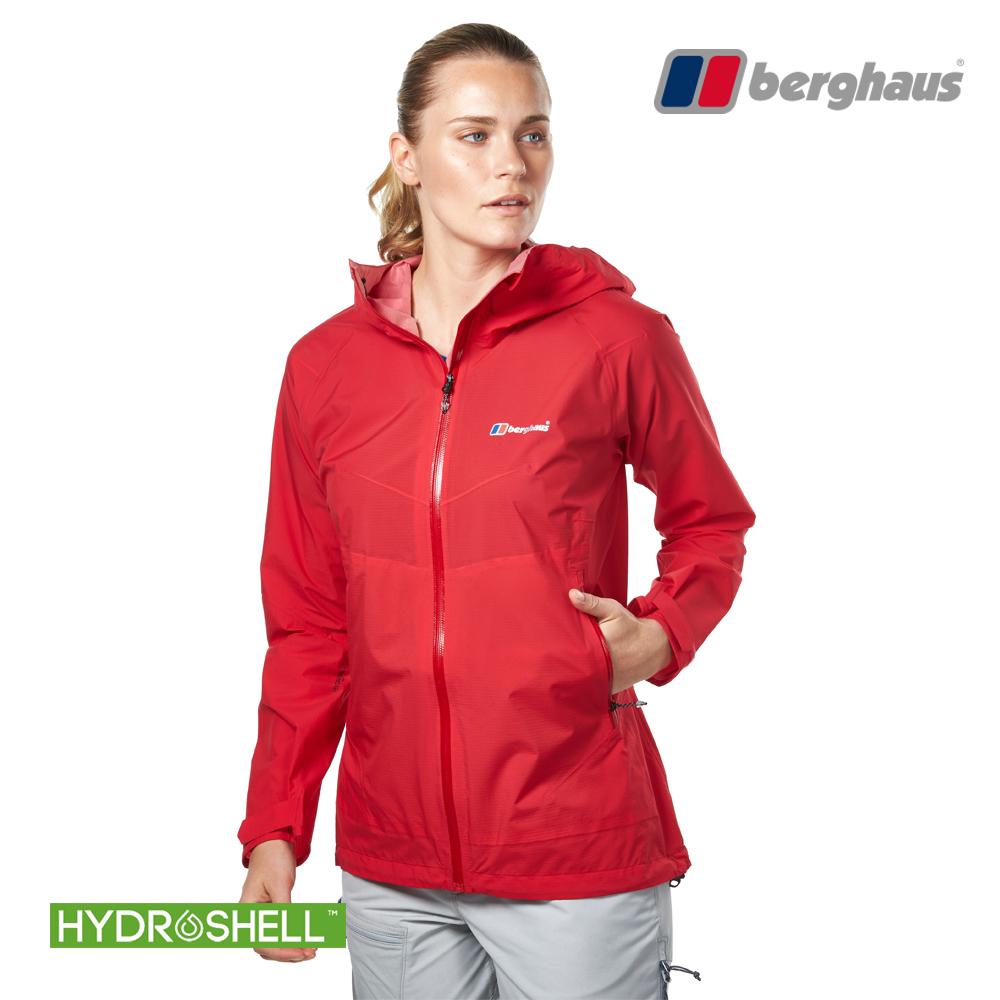 【Berghaus貝豪斯】女款HS輕量防水透氣連帽長版外套H22FS9紅