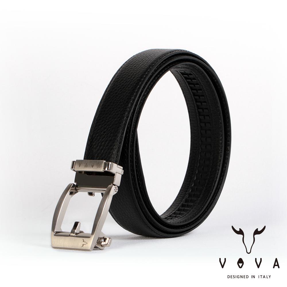 VOVA - 休閒商務男仕鏤空造型自動扣皮帶 - 鎗色