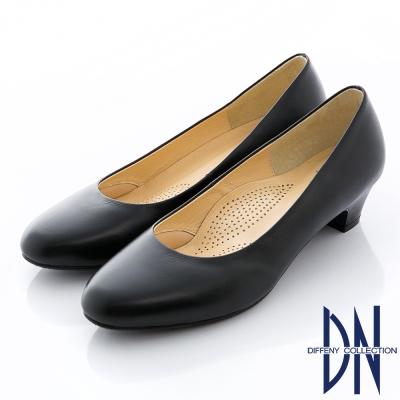 DN-優雅通勤-MIT全真皮經典素面粗跟鞋-黑