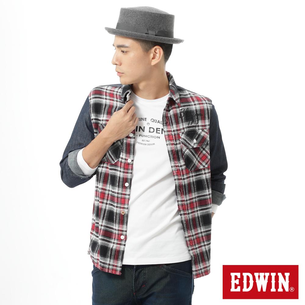 EDWIN 輕磨毛格紋剪接長袖襯衫-男-紅色格
