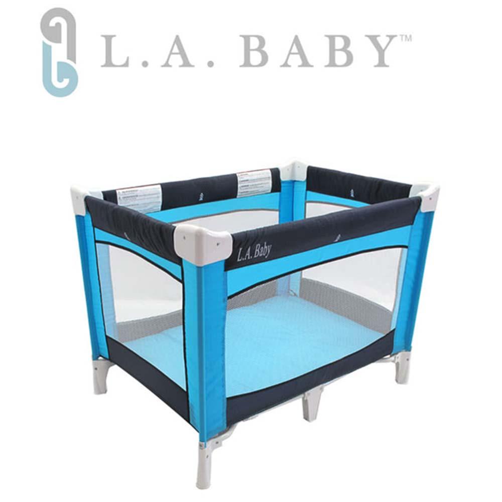 美國 L.A. Baby  攜帶式遊戲床(藍色)