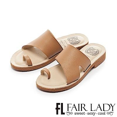 Fair Lady Soft Power軟實力 造型寬帶穿趾平底涼拖鞋 棕