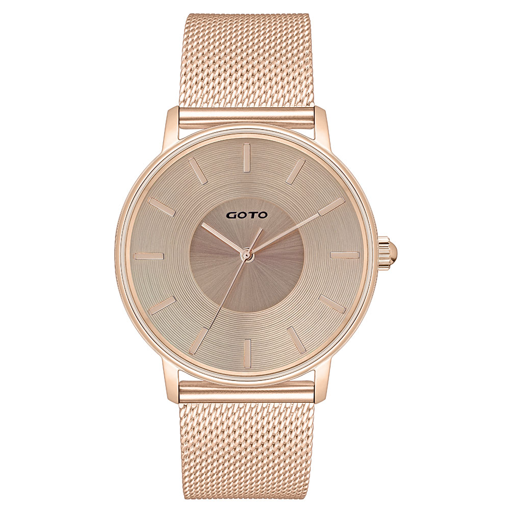 GOTO THINK簡約米蘭時尚手錶-IP玫/43mm