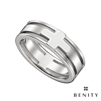 BENITY 誓守 白色搪瓷 316L醫療級 白鋼 情侶對借款 女戒