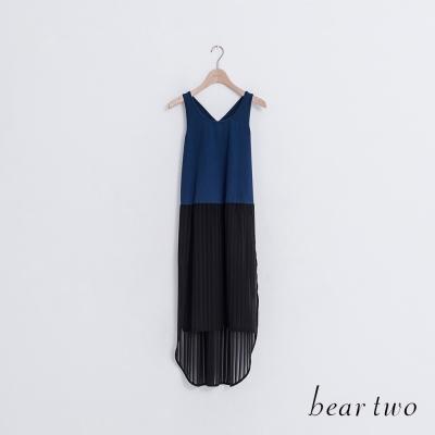 beartwo 百褶視覺感長版背心洋裝(藍色)-動態show