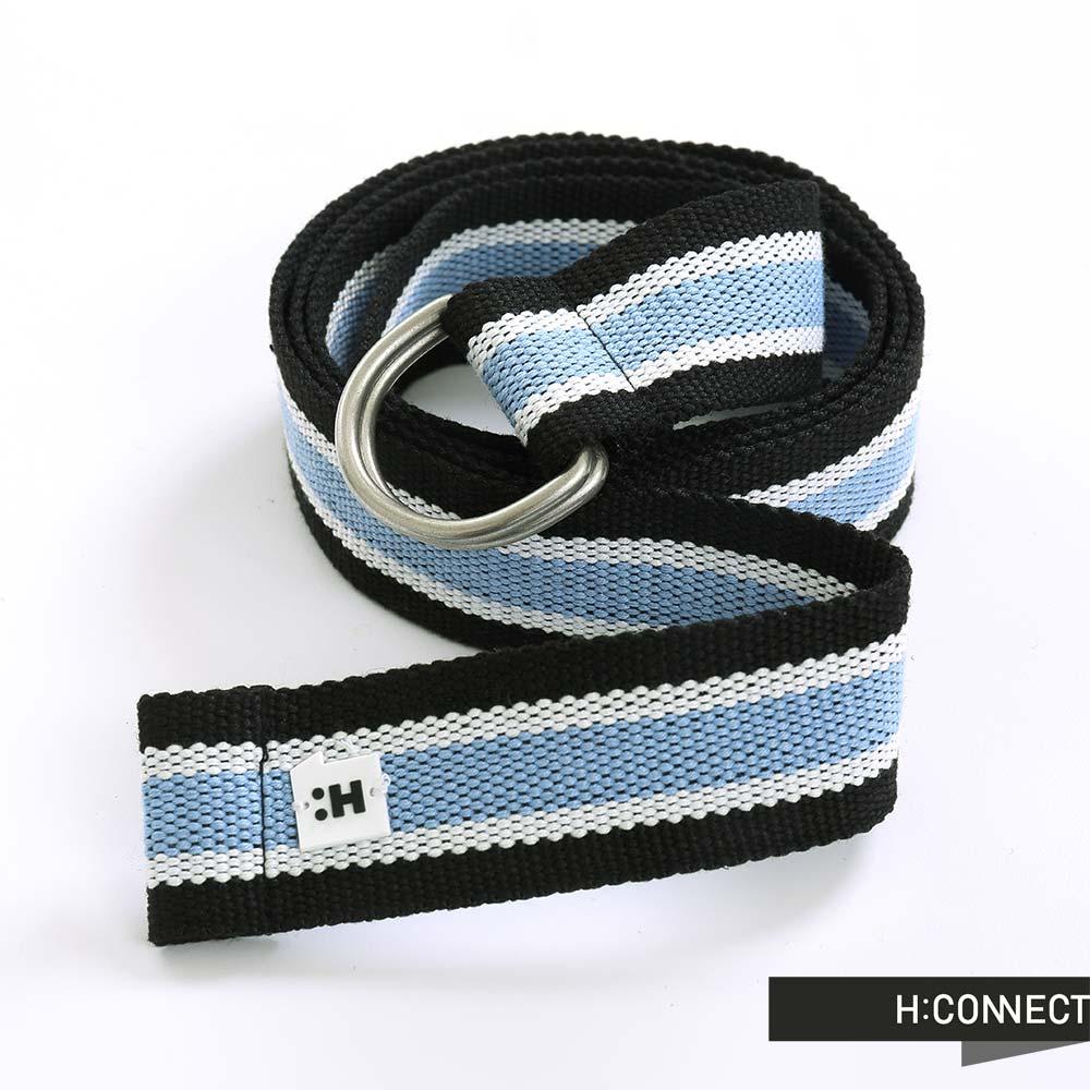 H:CONNECT 韓國品牌 金屬扣環雙色腰帶 - 藍
