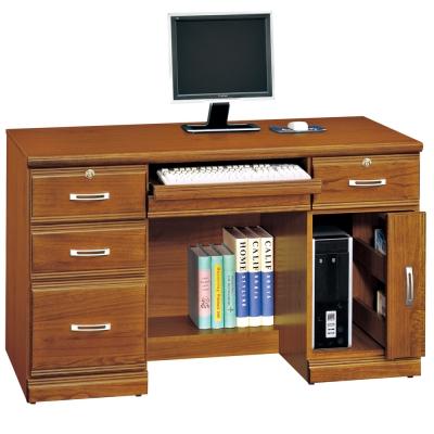 時尚屋 雅安樟木實木4.2尺五抽電腦桌 寬127cm