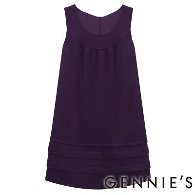 Gennies奇妮-U領層次下擺秋冬背心洋裝-G2217-紫