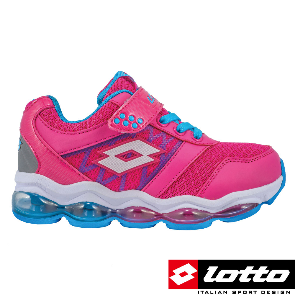 LOTTO 義大利 女中童氣墊跑鞋(粉紅)