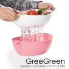GreeGreen格力綠 蔬果瀝水套裝-中型 粉紅色