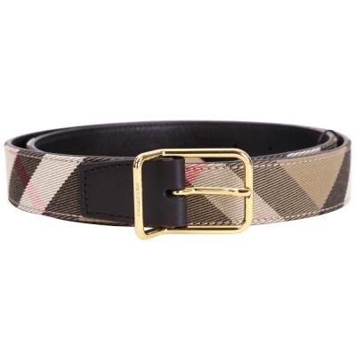 BURBERRY HOUSE 格紋拼接設計腰帶(黑色)