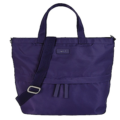 agnes b.皮標前口袋手提/斜背包-小/紫