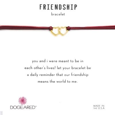 Dogeared Friendship 金色愛心手鍊 迷你雙墜 紅X紫 防水繩衝浪手鍊