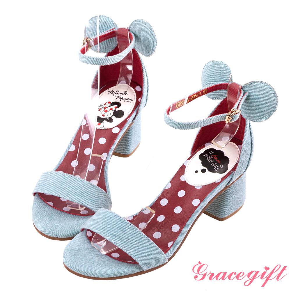 Disney collection by grace gift-立體造型一字涼鞋牛仔