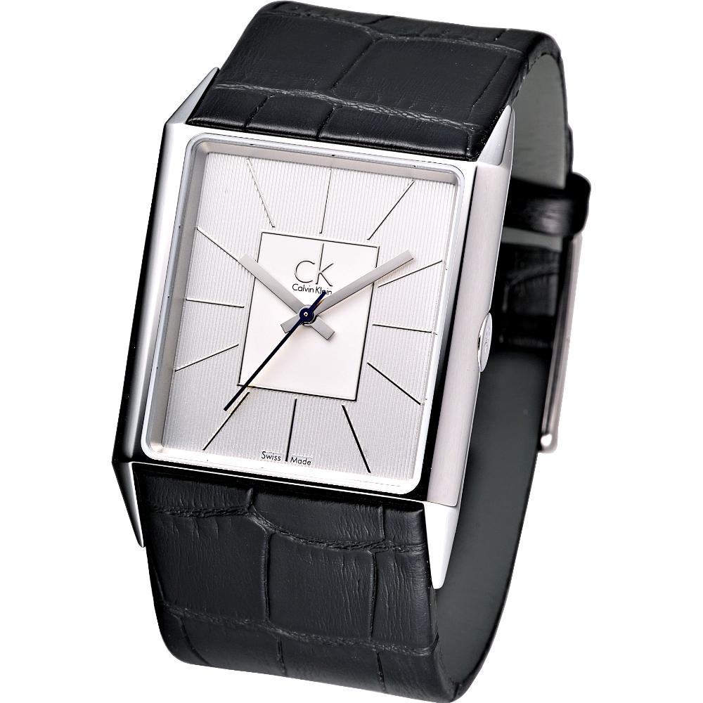 cK angular 方型系列腕錶(銀白)