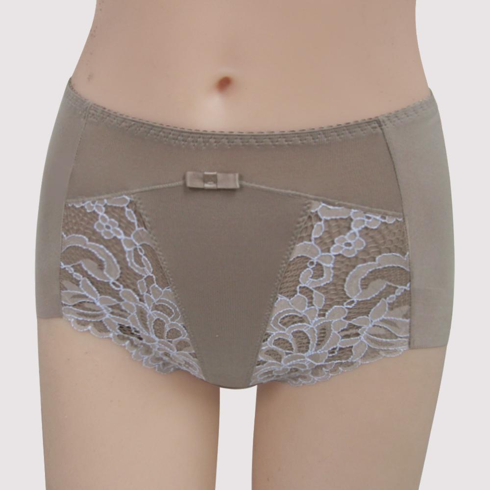 曼黛瑪璉-雙弧絲蛋白  高腰三角修飾褲(粉彩灰)