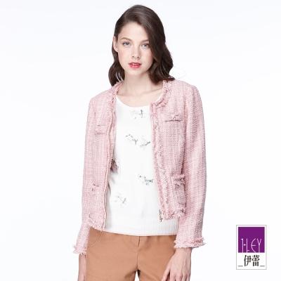 ILEY伊蕾 手工刺繡圓領毛衣(米/粉)