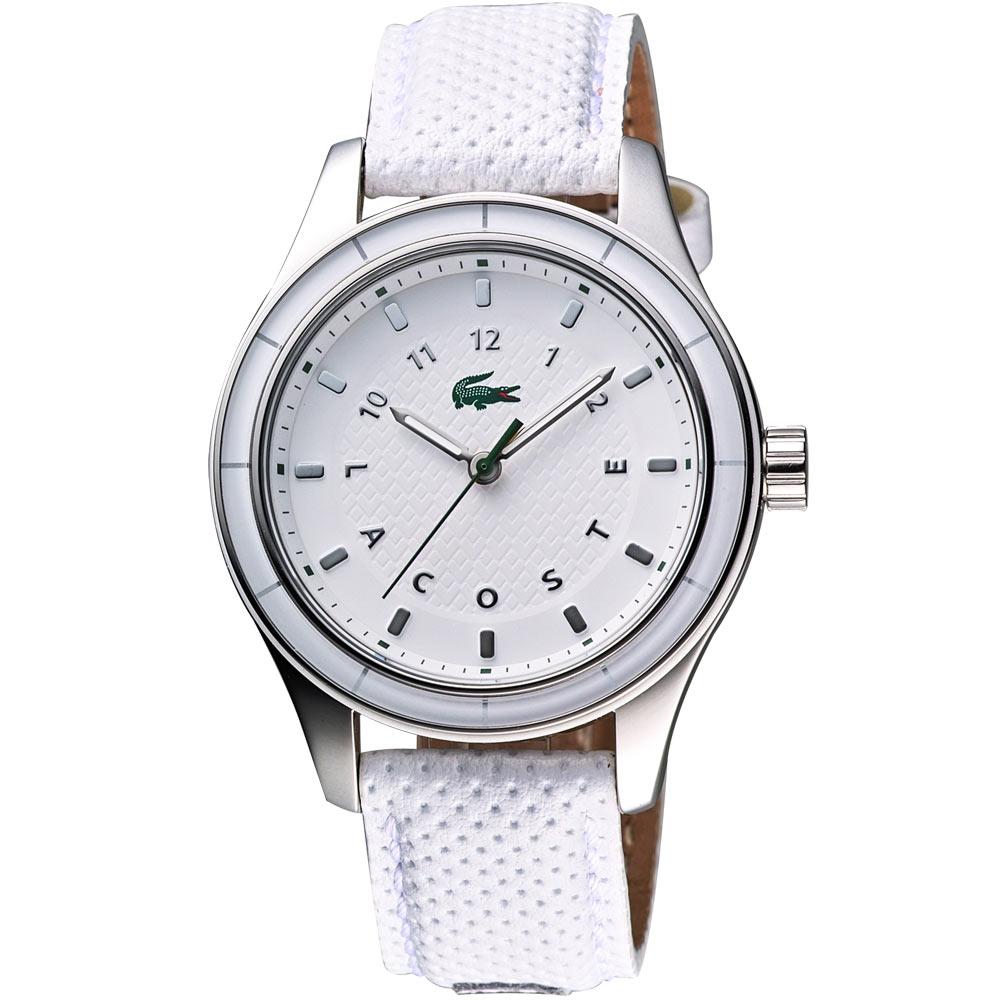 Lacoste 鱷魚 運動風時尚腕錶-白/38mm