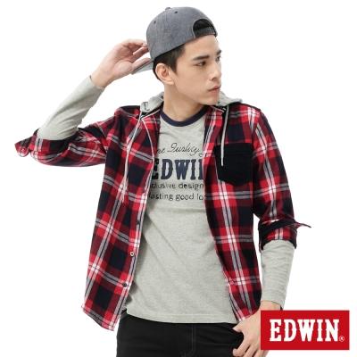 EDWIN 襯衫 靛藍格帽可拆襯衫 -男-紅色